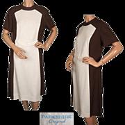 Vintage 1960s Mod Linen Dress in Brown & White By Parkshire Original Size L