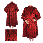 Vintage 50s Red Silk Brocatelle Evening Coat with Black Velvet Pattern Size M / L