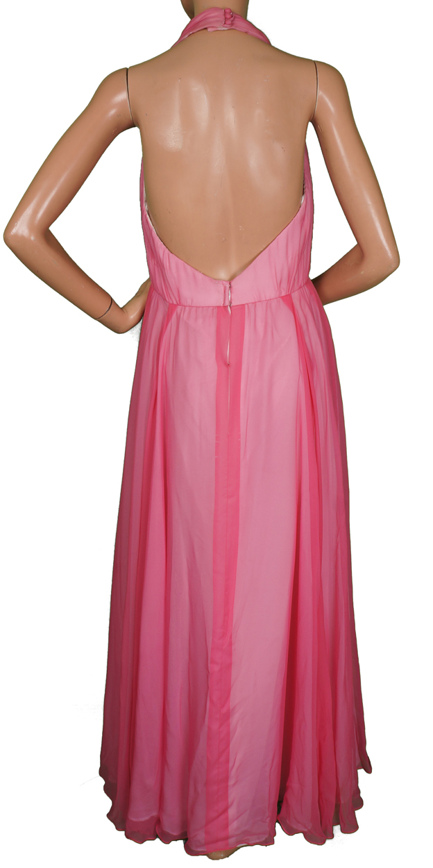 Vintage 60s Pink Chiffon Evening Gown Halter Style Dress Size M ...