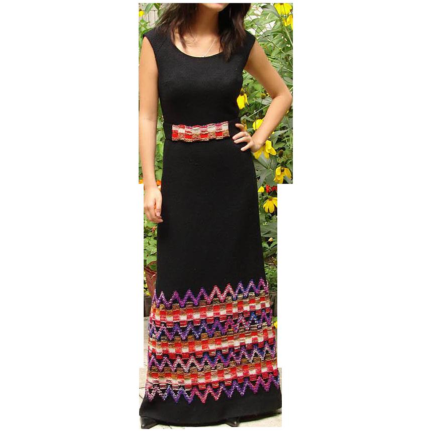 Vintage 1970s Wool Jersey Maxi Dress
