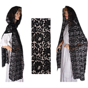 Vintage Black Lace Shawl Spanish Mantilla Rectangular Head Scarf Veil