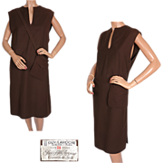 Vintage 70s Designer Guy Laroche Brown Wool Dress Size M 8