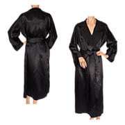 Vintage 1930s Black Satin Dressing Gown - Lounging Robe - L