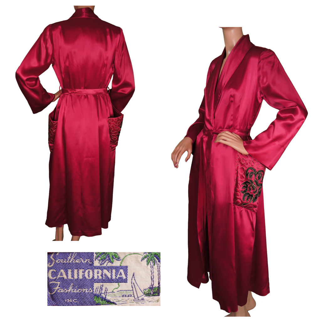1940s Dressing Gown: Vintage 1940s Magenta Red Satin Dressing Gown By Southern