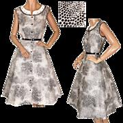 Vintage 1950s Cotton Dress with Black & White Optic Print Unused NOS Size M / L