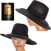 Vintage 1970s Lanvin Paris Fedora Style Milan Straw Hat Black Ladies Size 7