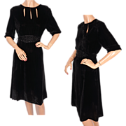 Vintage 1930s Black Velvet Dress w Peek-a-Boo Cutout & Beaded Belt Size M
