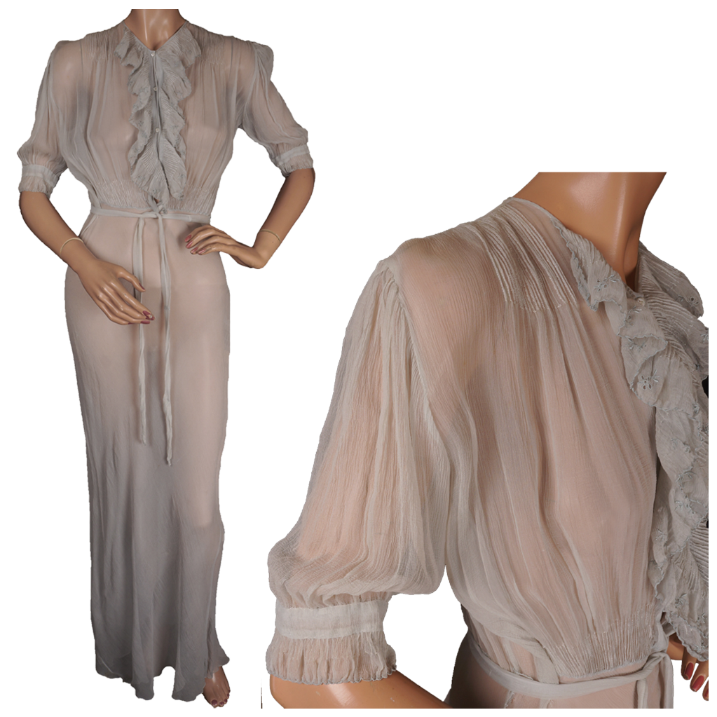 Vintage 1930s Blue Silk Chiffon Nightgown Size Medium