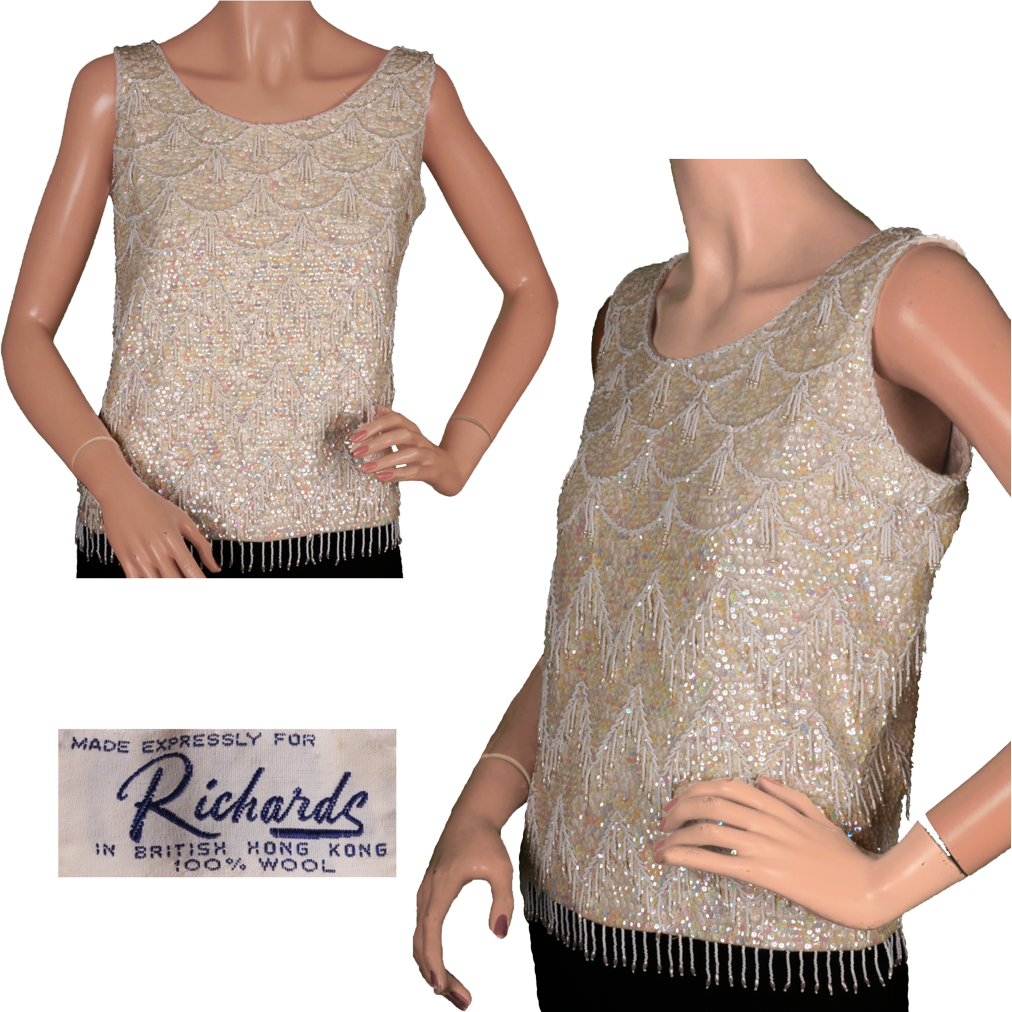 Vintage 60s White Sequin Beaded Shell Top Ladies Size Large