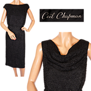Vintage 1960s Ceil Chapman Black Beaded Silk Dress Size M