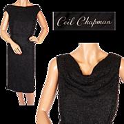 Vintage 1960s Ceil Chapman Black Beaded Silk Dress Size M