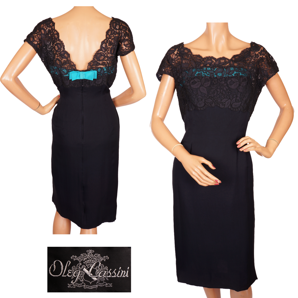 Vintage 1960s Oleg Cassini Navy Blue Lace &amp Silk Cocktail Dress S ...
