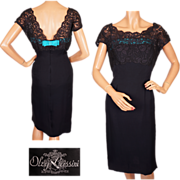 Vintage 1960s Oleg Cassini Navy Blue Lace & Silk Cocktail Dress  S / M