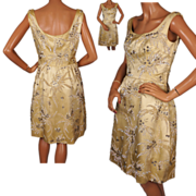 Vintage 60s Yellow Silk Party Dress with Sequins & Rhinestones Size Medium