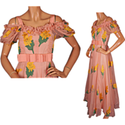 Vintage 1930s Silk Chiffon Garden Party Dress Full Length with Slip Size S