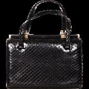 Vintage 1960s Black Snakeskin Handbag