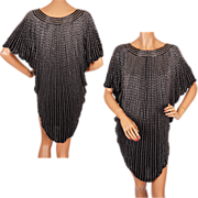 Vintage 1980s Beaded Silk Tunic Dress M