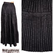 Vintage 1970s Yves Saint Laurent Silk Moire Skirt Pleated Full Length Size XS