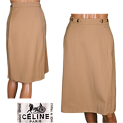 "Vintage 1970s Celine Paris Tan Wool Twill Wrap Skirt Ladies Size Small 24"" Waist"