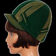 1960s Green Felt Helmet Hat  MOD