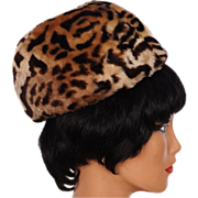 Vintage 60s Leopard Print Pillbox Hat Stenciled Mouton Sheared Lamb Fur Size S / M