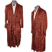 Vintage 1970s Mens Dressing Gown with Abstract Pattern Size L