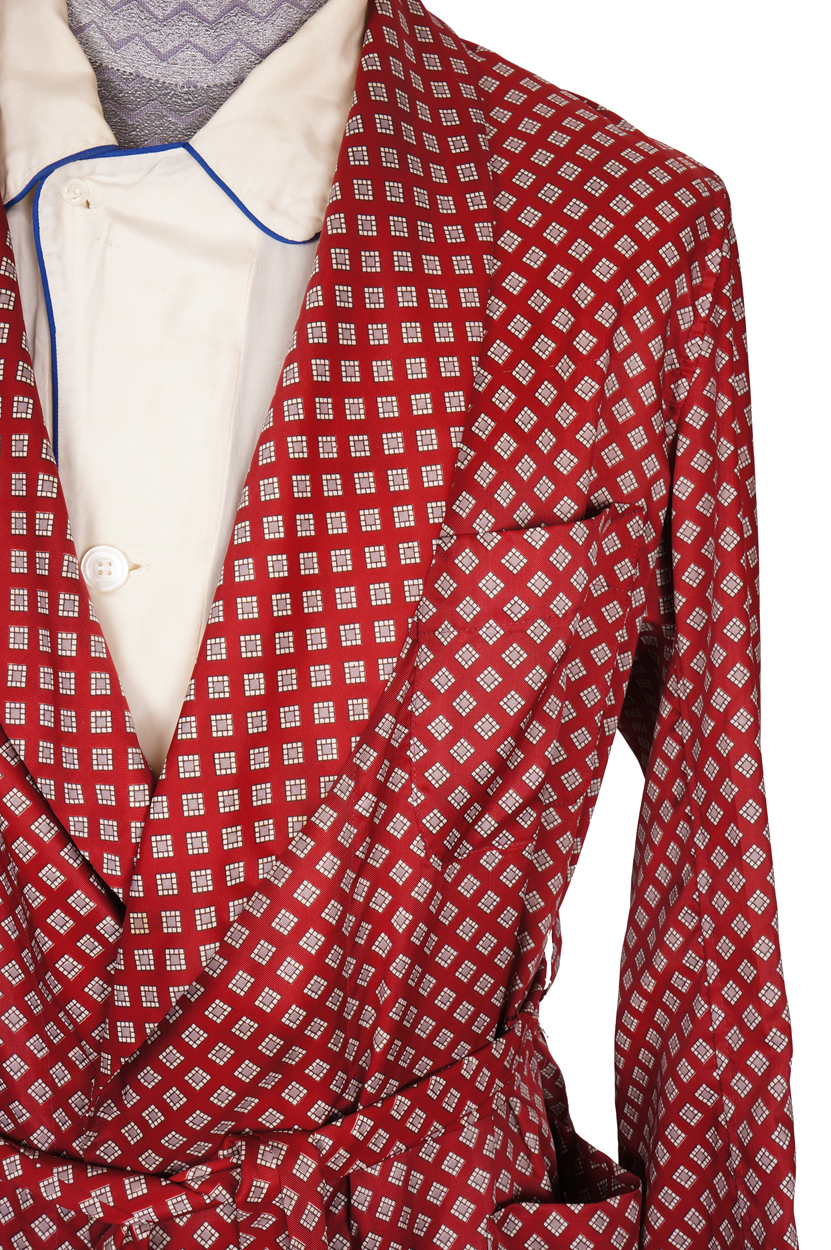 Vintage 1950s Mens Dressing Gown In Red With Diamond