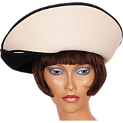 1980s Black & White Felt Hat Adolfo II