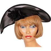 1980s Black Straw Wing Styled Hat