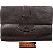 1930s Brown Leather Clutch Handbag - Tarkor