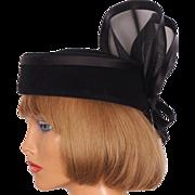 Vintage 1980s Black Felt Hat