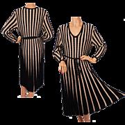 Vintage 1970s Black & Beige Ribbed Knit Dress - M