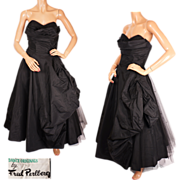 Vintage 1950s Fred Perlberg Shelf Bust Dress Black Taffeta Formal Prom Gown M