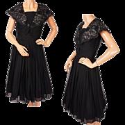 1960s Black Chiffon & Lace Dress - S
