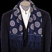 Vintage Fringed Scarf 1950s Mens Fashion Navy Blue Rayon