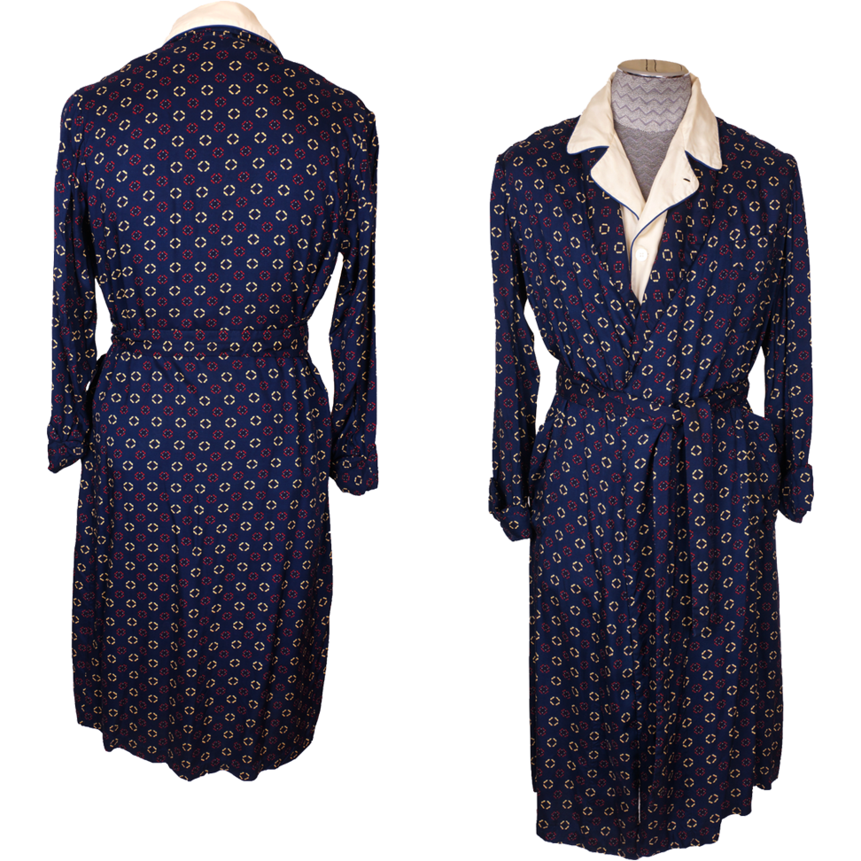 Antique Dressing Gown: Vintage Tootal Dressing Gown 1950s Mens Lounging Robe Size