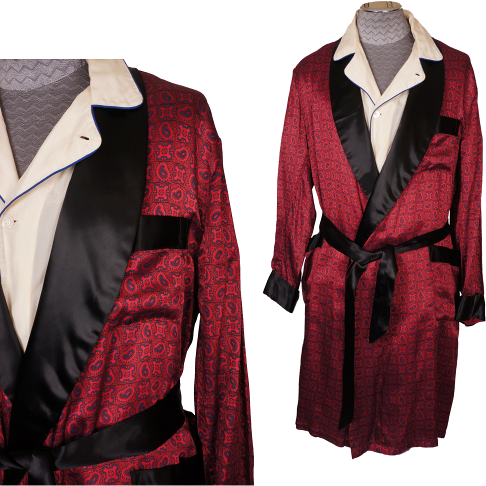 Antique Dressing Gown: Vintage Mens Dressing Gown 1960s Lounging Robe Size XL