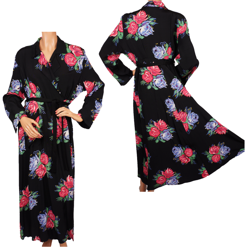 1940s Dressing Gown: Vintage 1940s Rayon Robe Dressing Gown Roses Print L From