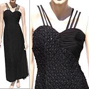 Vintage 1960s Black Beaded Evening Gown Dress Ruth Dukas Designer