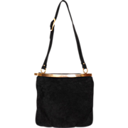 1960s Black Suede Shoulder Bag Purse - Coret