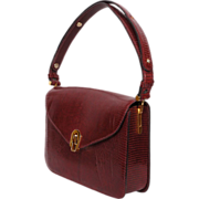 1960s Burgundy Leather Handbag Purse