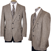 Vintage Mens Mod Sports Coat 1970s Houndstooth Wool Jacket Size M