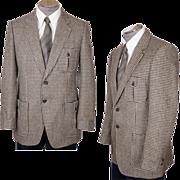Vintage Mens Mod Sports Coat 1970s Houndstooth Wool Jacket Size M