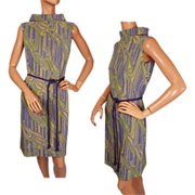 Vintage 1960s Paisley Dress - Metallic Knit