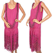 Vintage 1920s Pink Beaded Silk Chiffon Dress Flapper Style S - M