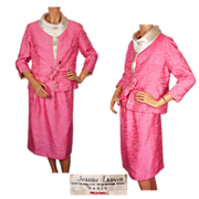 Vintage Jeanne Lanvin Paris Pink Silk Suit Couture by Maria Carine 1960s 3 Piece Ensemble Size M