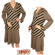 Vintage Mary Quant Knit Skirt & Blouse Set 1960s Ginger Group 2 Piece Ensemble Size M