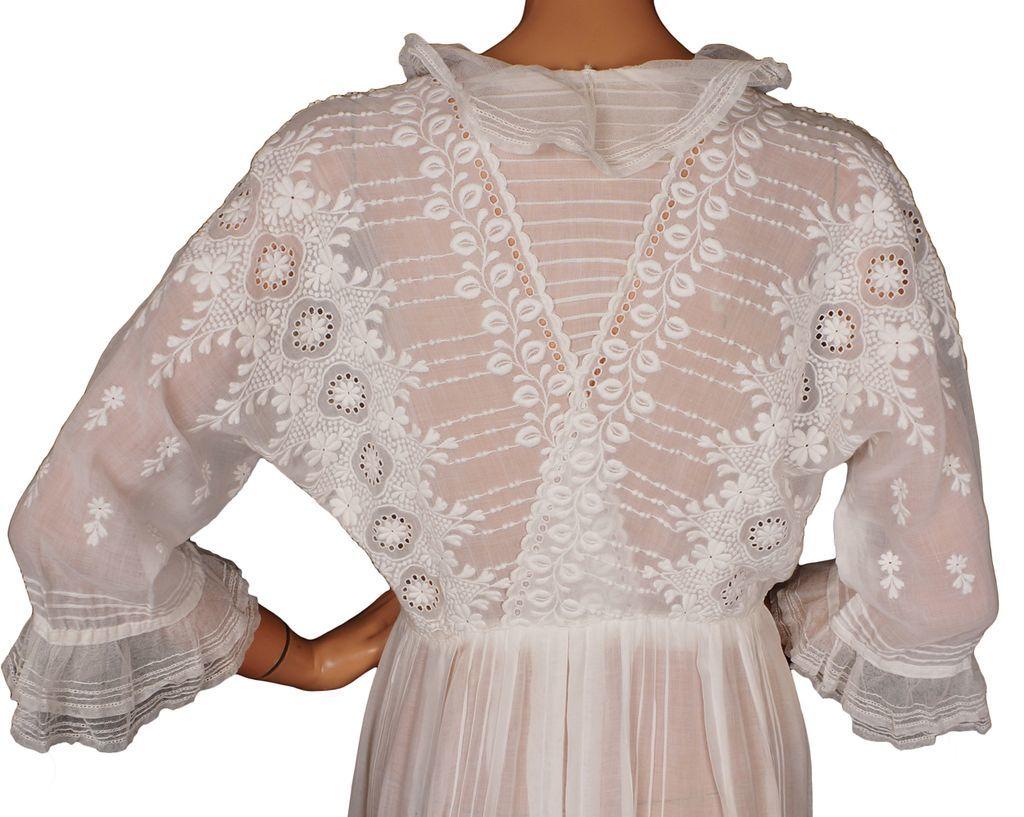 Cotton Wedding Gown: Antique Edwardian White Cotton Tea Dress Wedding Gown 1910