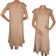 Vintage 1920s Lace Dress Net & Filet Embroidery - M