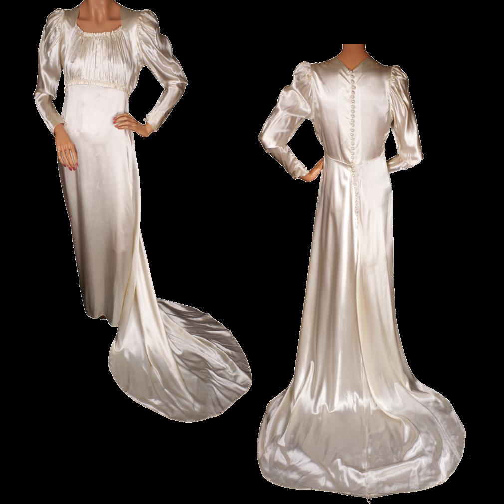 Vintage Satin Wedding Gown With Train 1930s Juliette Style